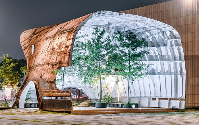 Old Rusty Ship Turned Into Stunning Building With Trees And Plants