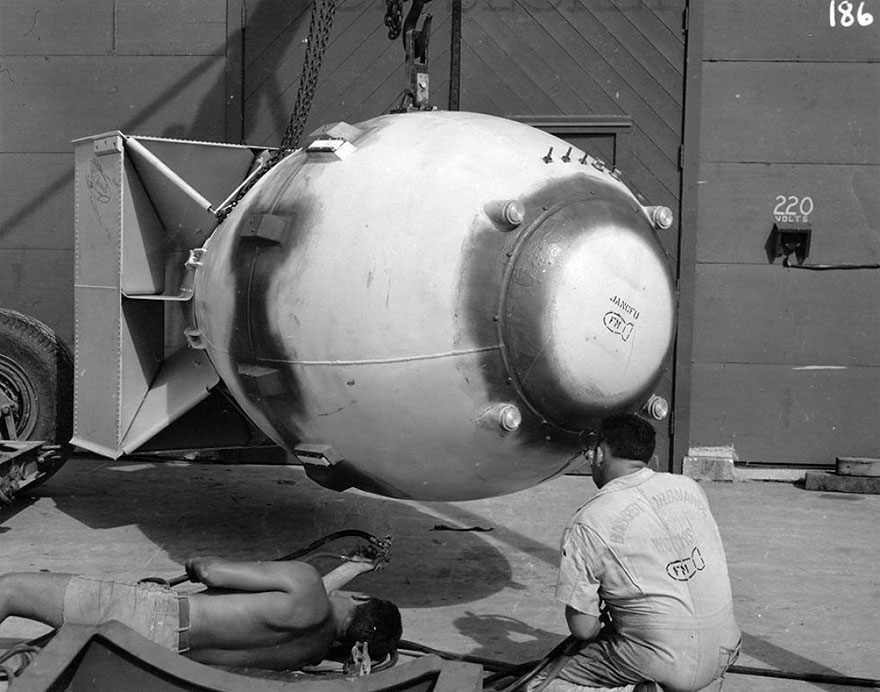 "Finalizing The Fat Man Atomic Bomb, Which Was Dropped On Nagasaki On August 9, 1945. On Its Nose It Had Stenciled The Acronym ""Jancfu""- Joint Army-Navy-Civilian F*** Up"