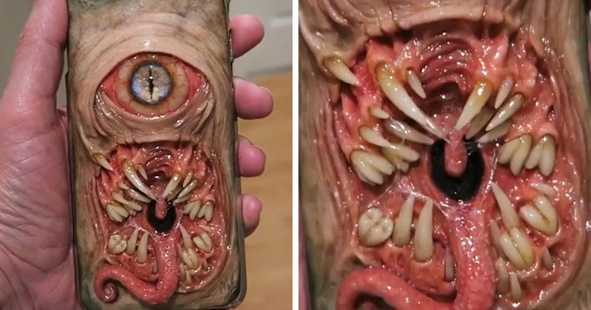 creepy phone case by dental technician morgan loebel