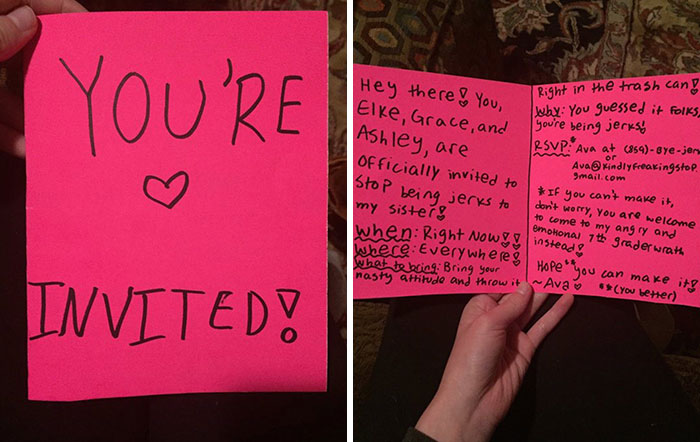 12-Year-Old Trolls Little Sister's Bullies With Fake Party Invitation