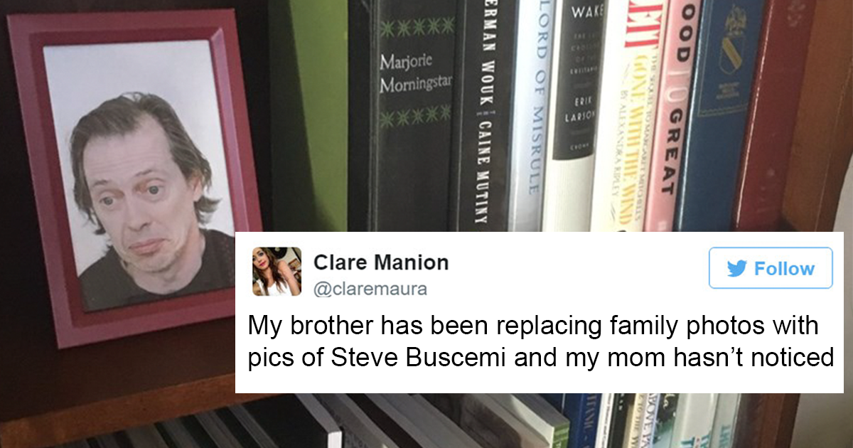 Son Secretly Replaces Family Photos With Steve Buscemi And His Mum Doesnt Notice It Bored Panda