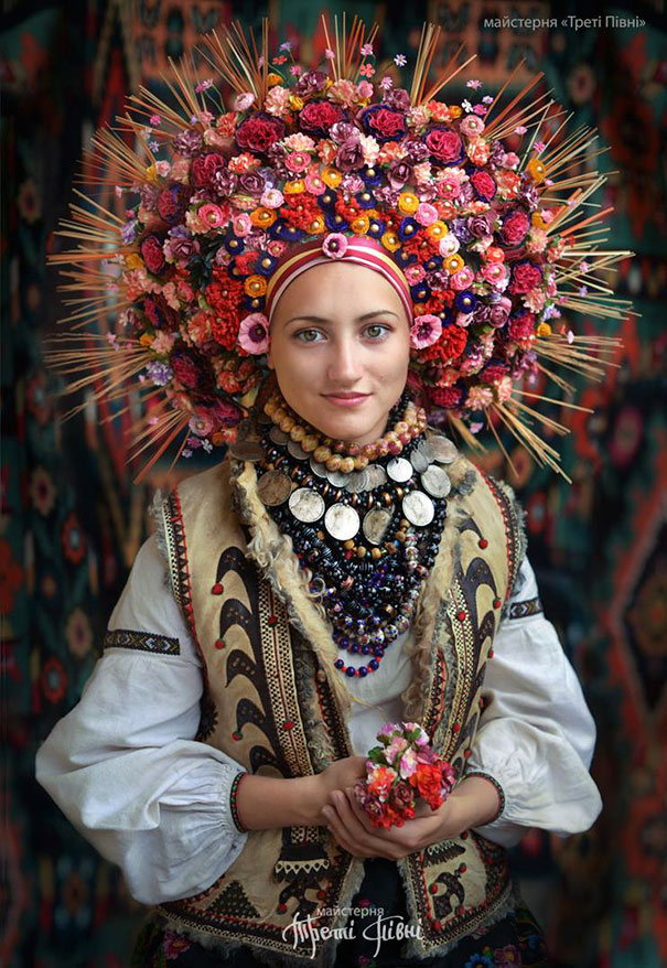 Modern Women Wearing Traditional Ukrainian Crowns Give New