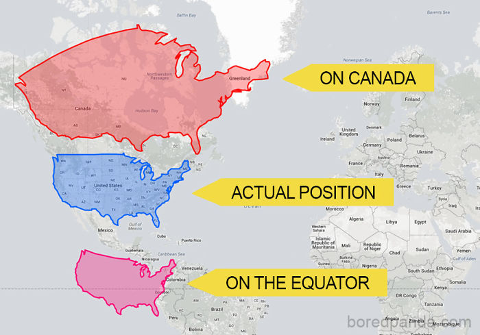 The US Could Easily Cover The Whole Of Canada But It Becomes Much Smaller When It's Moved South