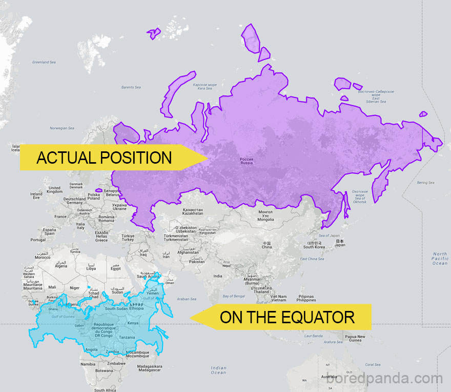 After seeing these 15 maps youll never look at the world the same 2 russia on the equator is not a giant bear anymore gumiabroncs