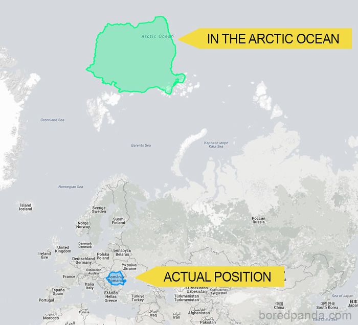 This Is How Tiny Romania Looks In The Arctic Ocean