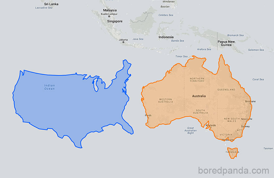 After seeing these 15 maps youll never look at the world the same 1 us moved down next to australia looks unbelievably small gumiabroncs Choice Image