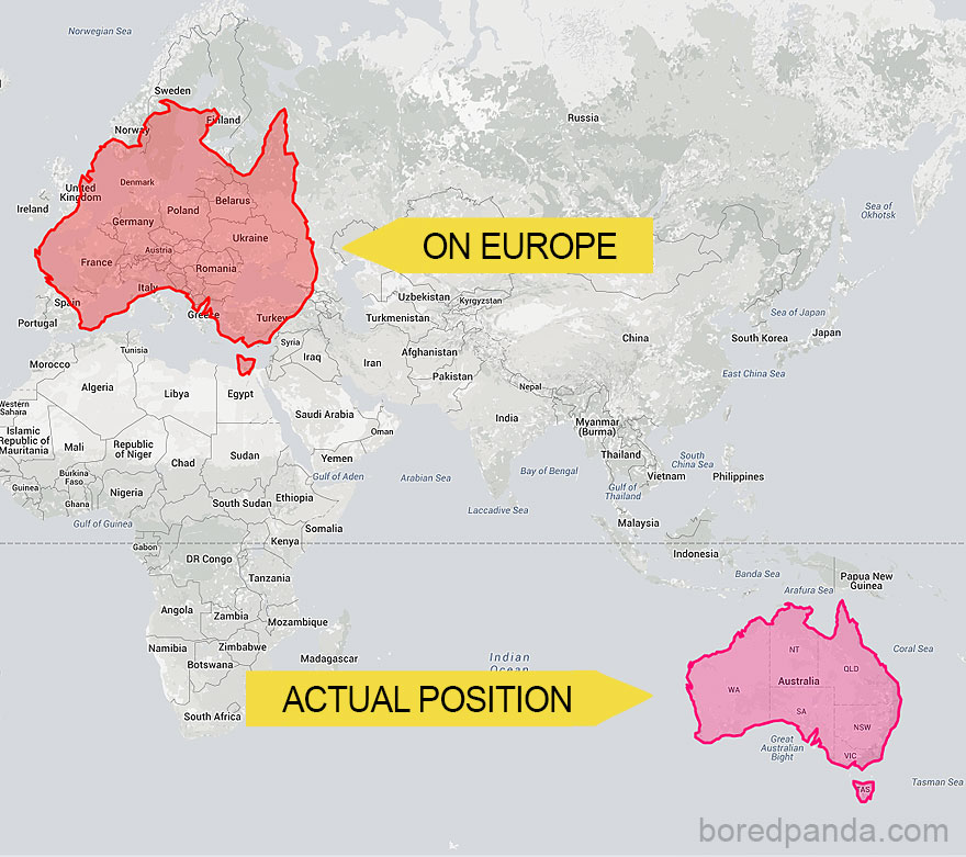 Australia Map In Europe.After Seeing These 30 Maps You Ll Never Look At The World The Same