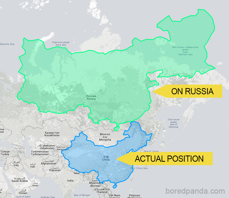 After seeing these 15 maps youll never look at the world the same china placed on top of russia the true size report gumiabroncs Image collections