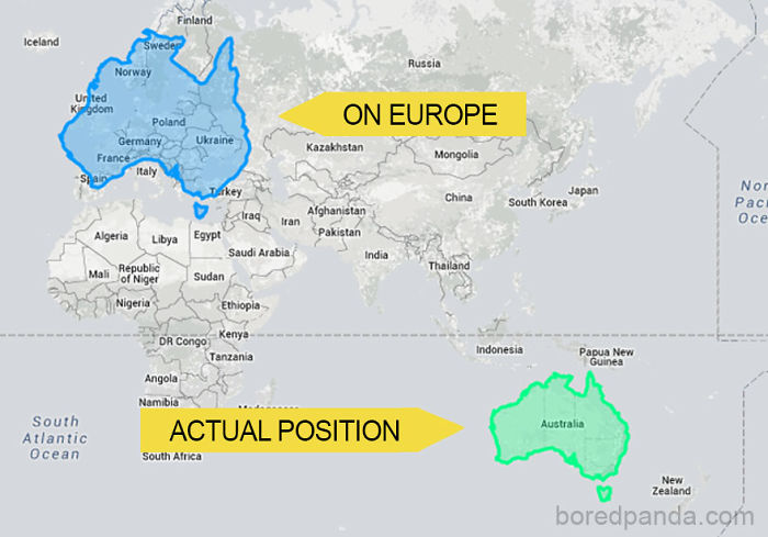 Buzzfeed: People often forget how big Australia is because it's so far away from other land masses. Here's what happens when you move it over Europe.