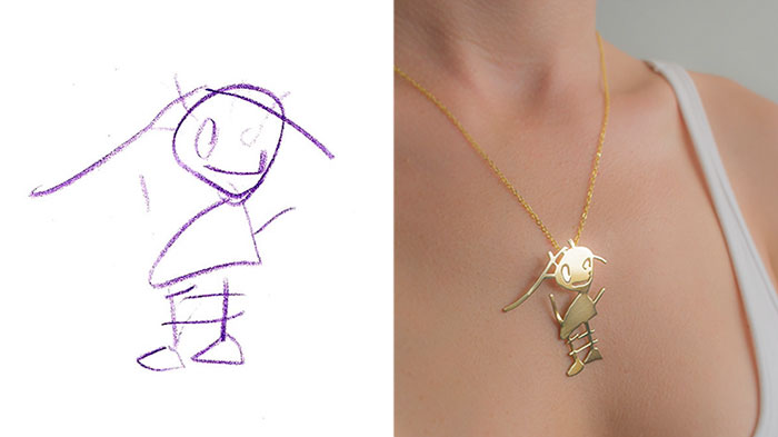 Children's Drawings Turned Into Jewelry To Create Timeless Memories