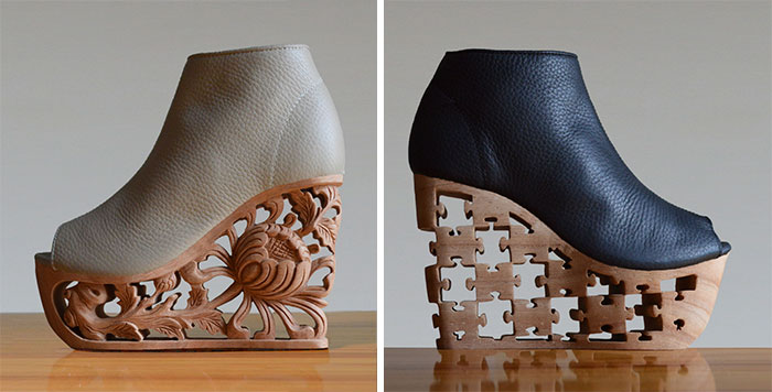 Beautifully Detailed Wooden Heels Carved Using Ancient Vietnamese Pagoda Techniques