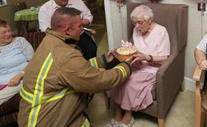"This 105-Year-Old Woman Had Only One Birthday Wish - A ""Fireman With Tattoos"""