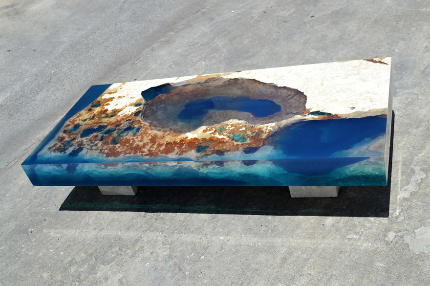 Ocean Coffee Tables That I Made By Merging Natural Stone