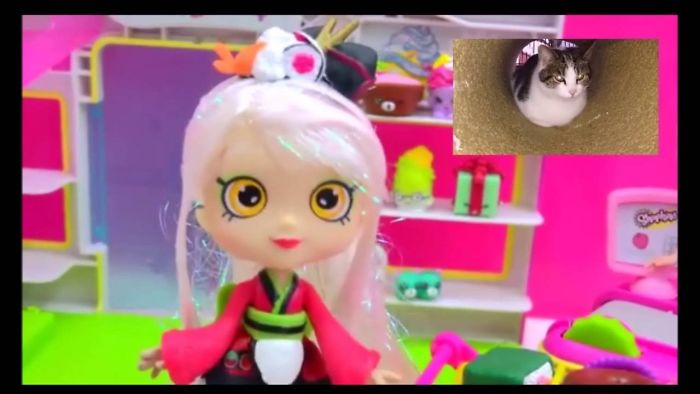 Cats Reaction To Shopkins Shoppies Doll Sara Sushi Shops At Small Mart Matching Season 4