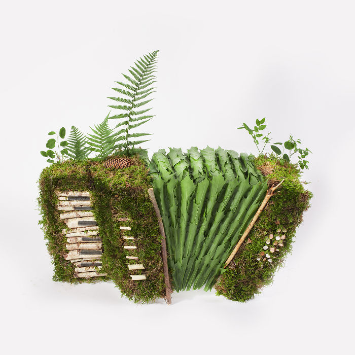 I Made Accordion Sculptures From Moss, Candies And Concrete