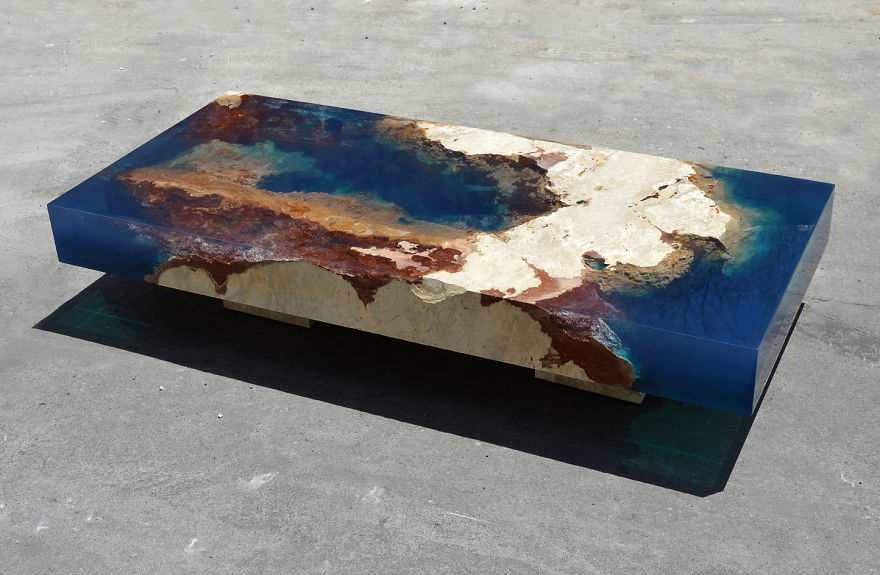 Ocean Coffee Tables That I Made By Merging Natural Stone And Resin Bored Panda