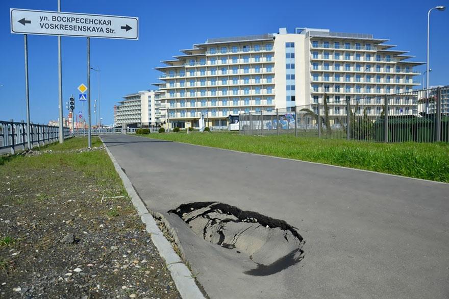 Roads With Huge Potholes, Sochi, 2014 Winter Olympics