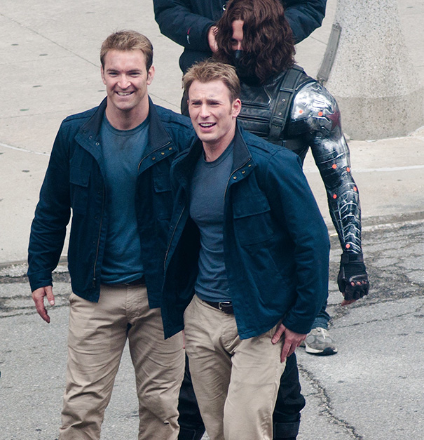 Chris Evans With His Stunt Doubles On The Set Of Captain America 2: The Winter Soldier
