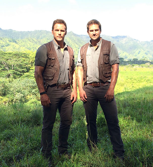 Chris Pratt And His Stunt Double Tony Mcfarr On The Set Of Jurassic World