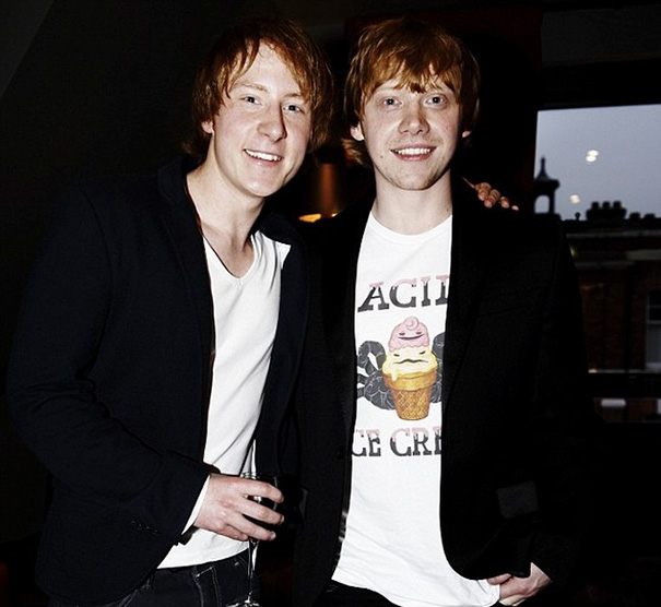 Rupert Grint And Stunt Double Anthony Knight On The Set Of Harry Potter