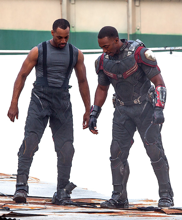 Anthony Mackie With His Stunt Double On The Set Of Captain America: Civil War