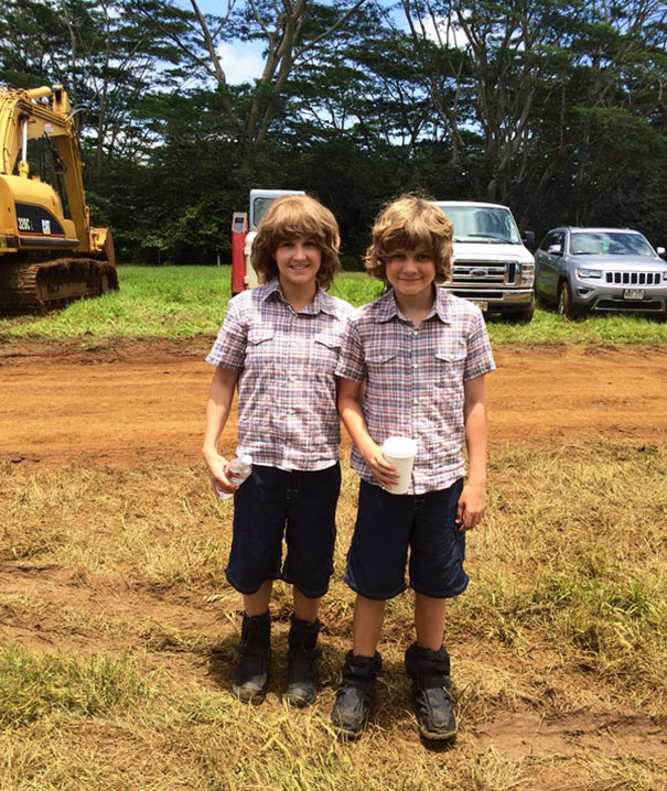 Ty Simpkins With His Double Kara Petersen On The Set Of Jurassic World