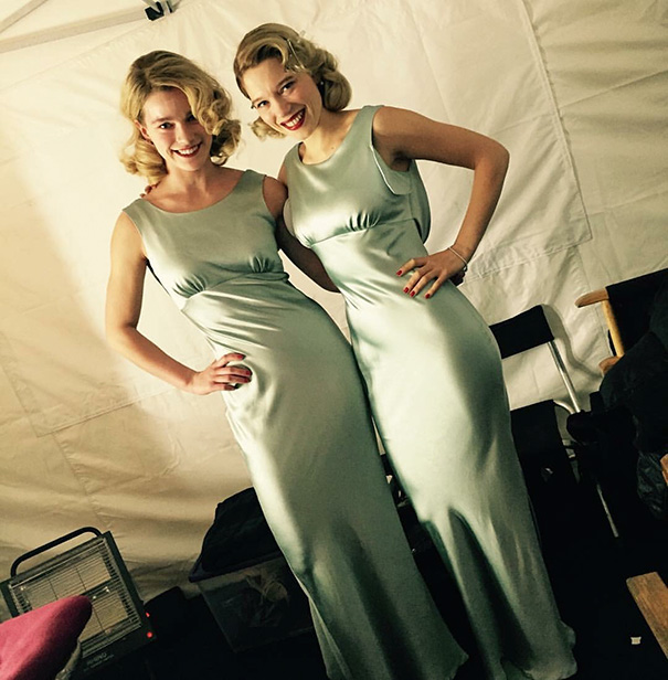 Léa Seydoux With Her Double Gemita Samarra On The Set Of Spectre