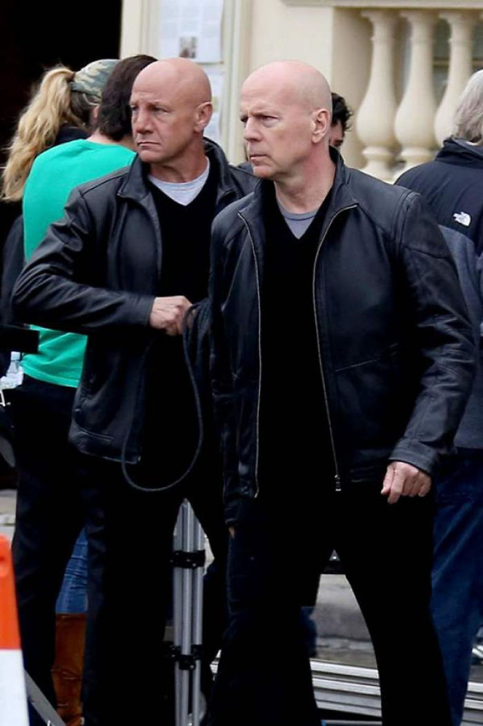 Bruce Willis With His Stunt Double On The Set Of Red 2