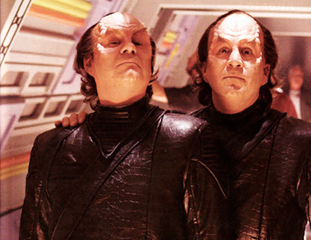 John Billingsley And Stunt Double On The Set Of Star Trek
