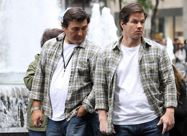 Mark Wahlberg And His Stunt Double On The Set Of Ted 2