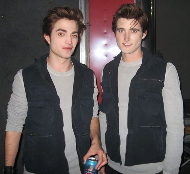 Robert Pattinson And Stunt Double Paul Darnell On The Set Of Twilight