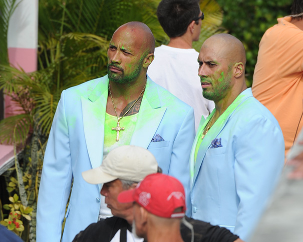 Dwayne Johnson And Stunt Double On The Set Of Pain And Gain