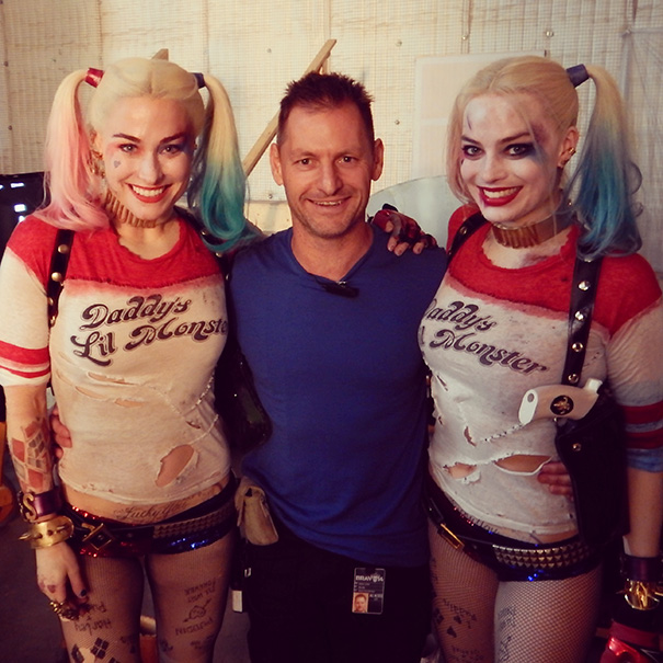 Margot Robbie With Her Stunt Double Ingrid Kleinig On The Set Of Suicide Squad