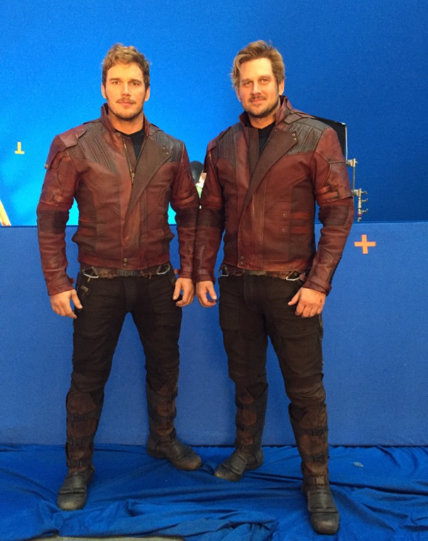 Chris Pratt With His Stunt Double Tony Mcfarr On The Set Of Guardians Of The Galaxy Vol. 2