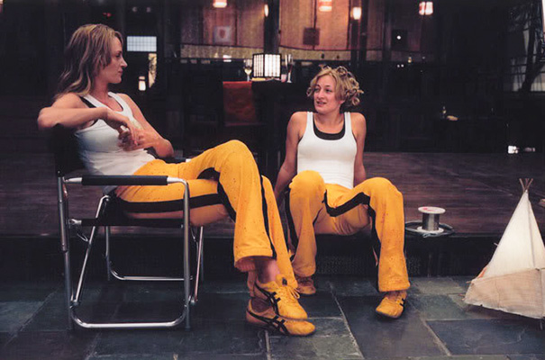 Uma Thurman And Stunt Double Zoe Bell On The Set Of Kill Bill