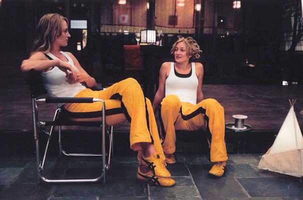 Uma Thurman And Stunt Double Zoe Bell On The Set Of Kill Bill