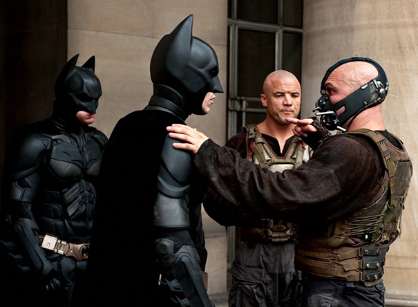 Christian Bale And His Stunt Double On The Set Of The Dark Knight Rises
