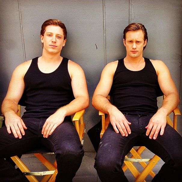Alexander Skarsgard And His Stunt Double On The Set Of True Blood