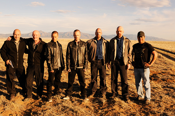 Jonathan Banks, Aaron Paul, Bryan Cranston And Their Stunt Doubles On The Set Of Breaking Bad