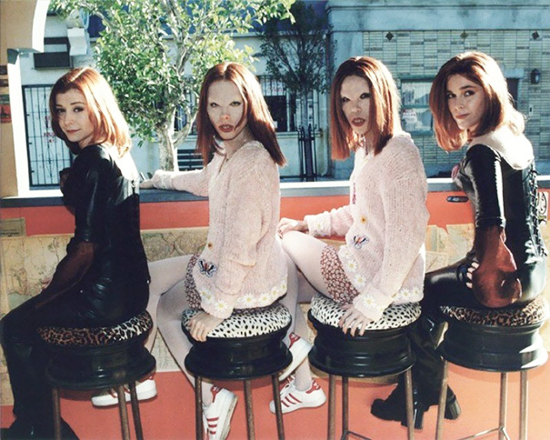 Alyson Hannigan And Stunt Doubles On The Set Of Buffy, The Vampire Slayer