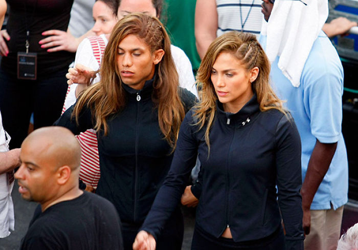 Jennifer Lopez And Her Male Stunt Double On The Set Of Follow The Leader Video Clip