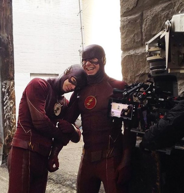 Grant Gustin With His Stunt Double Cody Laudan On The Set Of The Flash