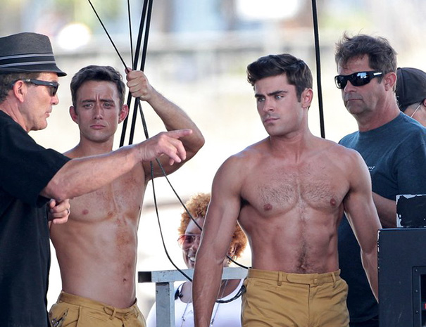 Zac Efron And His Stunt Double On The Set Of Dirty Grandpa