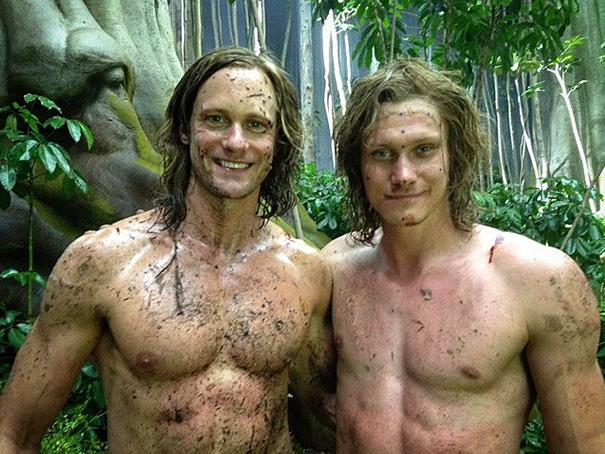 Alexander Skarsgard With His Stunt Mark Slaughter On The Set Of Tarzan