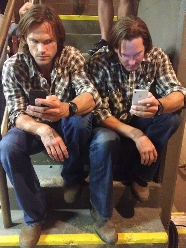 Jared Padalecki With His Stunt Double On The Set Of Supernatural