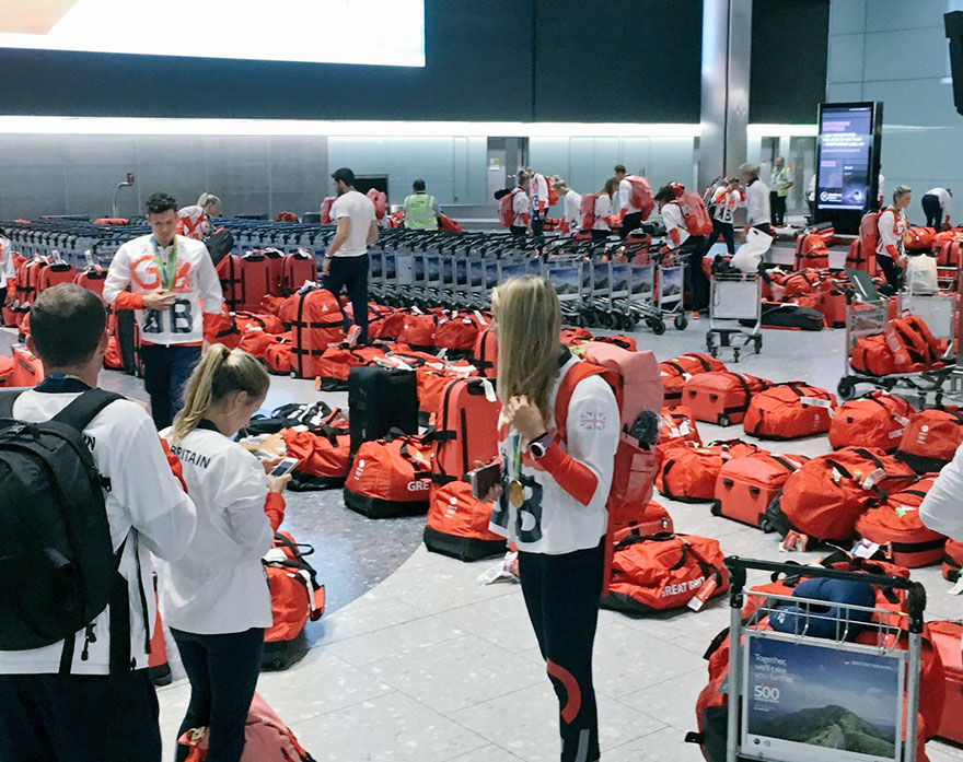 British Olympic Athletes Red Bags Heathrow Airport 5