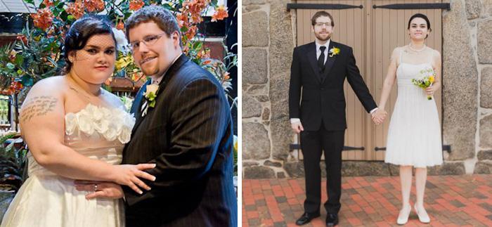 Для нашего 4-й годовщины моя жена и я Retconned Наши свадебные фотографии. Моя жена потеряла 109 Lbs, и я потерял 129 фунтов (около 1,5 лет)