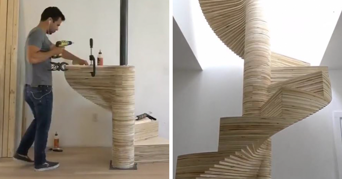 diy spiral staircase made out of plywood bored panda. Black Bedroom Furniture Sets. Home Design Ideas