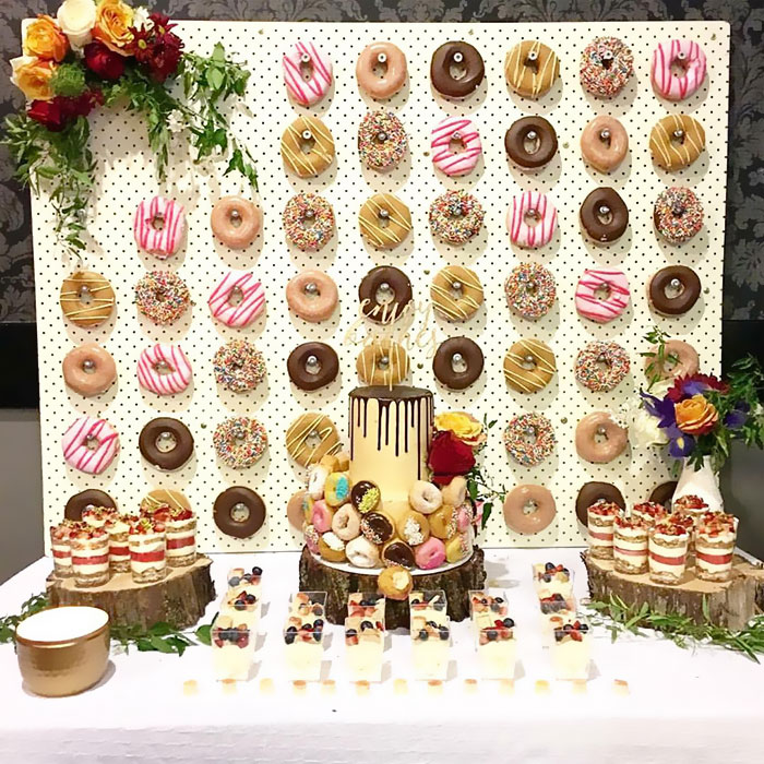 unique wedding donut wall