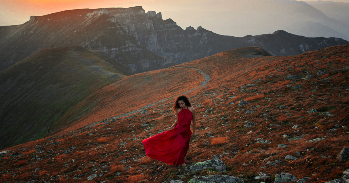 We Photograph The Woman In Red Dress In The Mesmerizing Landscapes Of Romania
